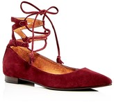 Frye Sienna Ghillie Ankle Tie Pointed Toe Ballet Flats