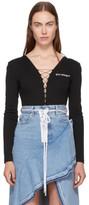 Off-White Black Logo Lace-up Bodysuit