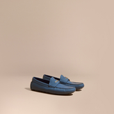 Burberry Leather Loafers With Engraved Check Detail , Size: 42.5, Blue