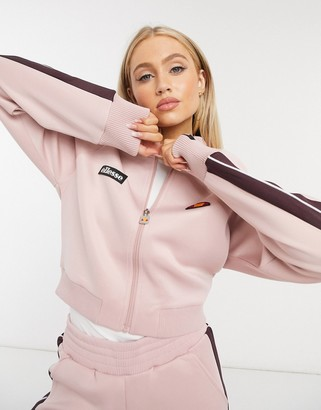 Ellesse Neoprene Cropped Track Jacket In Pink Co