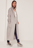 Missguided Textured Shawl Collar Maxi Coat Grey