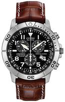 Citizen Bl5250-02l Chronograph Titanium Leather Strap Watch, Brown/black