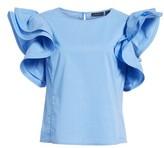Halogen Women's Ruffle Sleeve Poplin Top