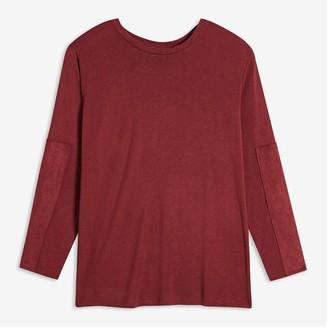 Joe Fresh Women+ Contrast Sleeve Tee, Dark Red (Size 3X)
