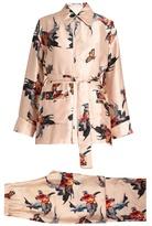 Katie Eary Fish-print silk-satin pyjama set