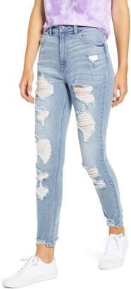 Tinsel Ripped Chewed Hem Mom Jeans