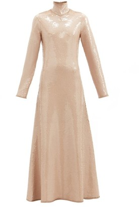 Bottega Veneta High-neck Open-back Sequinned Gown - Beige