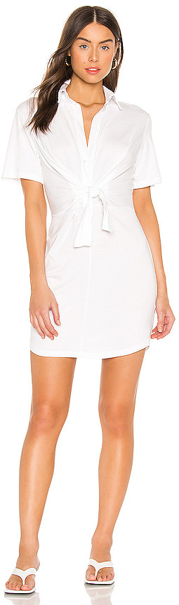 Monrow Jersey Shirt Dress With Front Tie