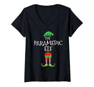 Womens Paramedic Nurse Elf Matching Group Christmas Party Pajama V-Neck T-Shirt
