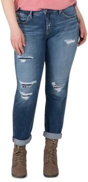 Silver Jeans Co. Trendy Plus Size Beau Ripped Girlfriend Jeans