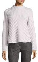 Armani Collezioni Diagonal-Stitch Mock-Neck Wool-Cashmere Sweater