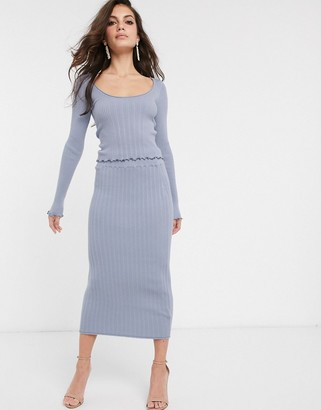 ASOS DESIGN two-piece knitted midi skirt with ruffle hem