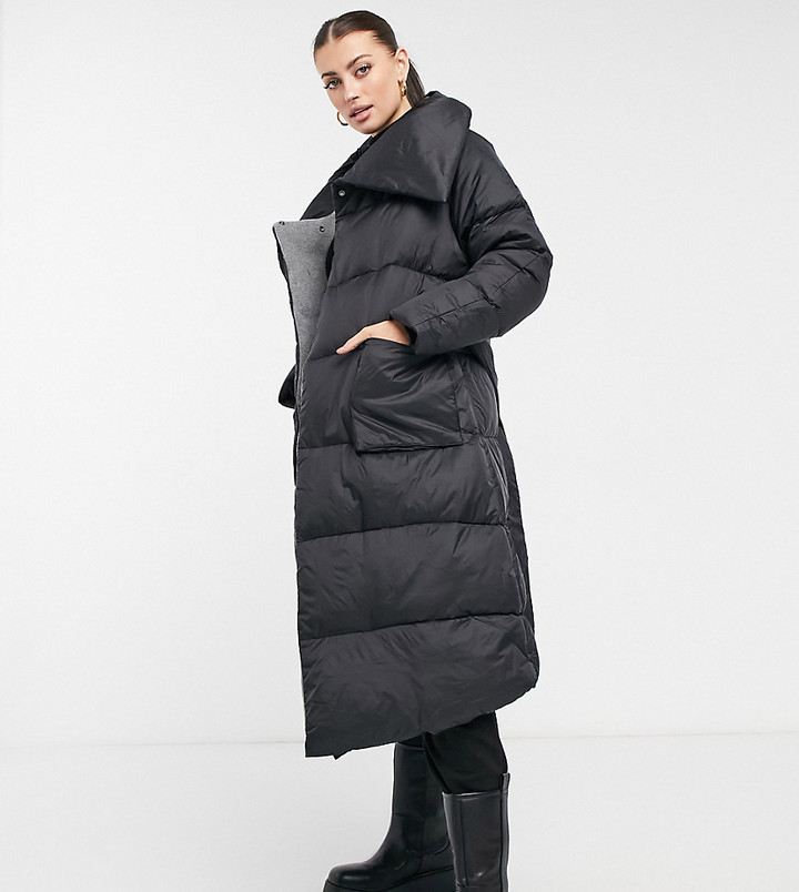 NATIVE YOUTH longline puffer coat with extreme collar in black