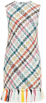 Oscar de la Renta Tassel-trimmed Checked Cotton-blend Tweed Dress