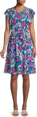 Calvin Klein Regatta Floral Flounce Dress