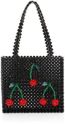 Susan Alexandra Ma Cherie Cherry Applique Beaded Tote