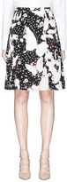 Valentino Butterfly print pleated silk crepe de Chine skirt