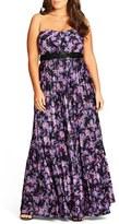 City Chic Helena Print Strapless Maxi Dress (Plus Size)