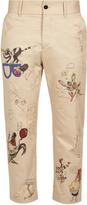 Burberry Doodle-print slim-leg cotton cropped trousers