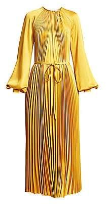 Oscar de la Renta Women's Puff-Sleeve Satin Pleated Tie-Front Dress