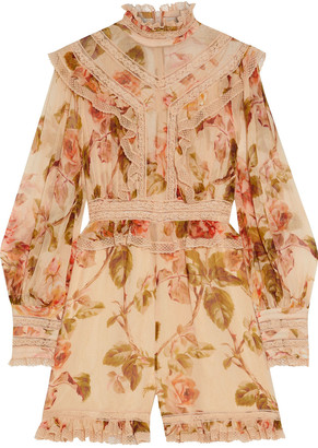 Zimmermann Resistance Lace-trimmed Floral-print Silk-georgette Playsuit