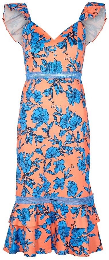 Alice + Olivia Jade floral-print stretch-cotton midi dress