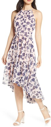 Eliza J Floral Ruffle High/Low Halter Dress