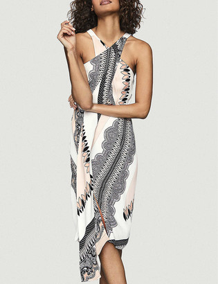 Reiss Hope geometric-print halter-neck crepe midi dress