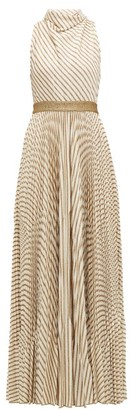 Missoni Pleated Metallic-striped Knitted Gown - Womens - Cream Gold