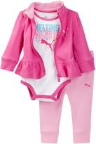Puma Bodysuit, Ruffle Bottom Jacket, & Pant Set (Baby Girls 0-9M)
