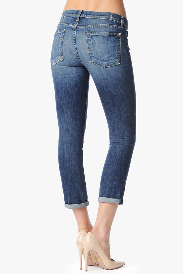 7 For All Mankind The Skinny Crop & Roll In Authentic Bright Blue