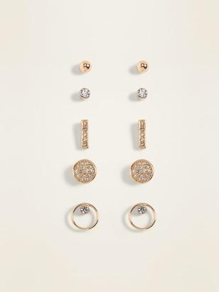 Old Navy Rhinestone Stud Earrings 5-Pack for Women