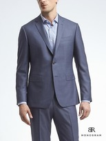 Banana Republic Slim Monogram Bright Blue Wool Suit Jacket