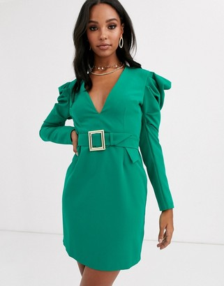 Vesper deep plunge midi dress with statement shoulder in emerald green