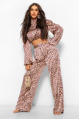 boohoo Leopard Print High Waisted Wide Leg Trousers