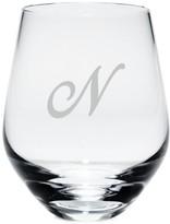 Lenox Tuscany Monogram Stemware, Set of 4 Script Letter Stemless White Wine Glasses