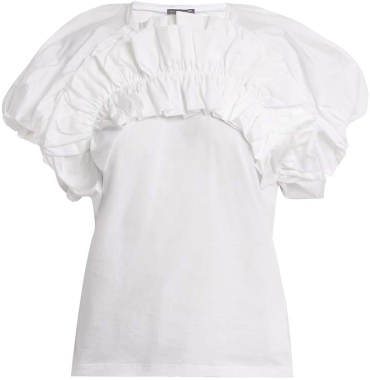 Alexander McQueen Ruffled puff-sleeved cotton top