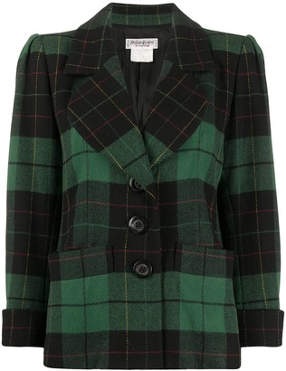 Yves Saint Laurent Pre Owned Structured Shoulders Checked Jacket