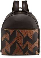 Salvatore Ferragamo Men's Patchwork Leather & Ostrich Backpack, Hickory