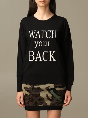 Boutique Moschino Sweater Watch Your Back Pullover In Virgin Wool Blend