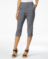 Alfred Dunner Petite Garden Party Gingham Pull-On Capris