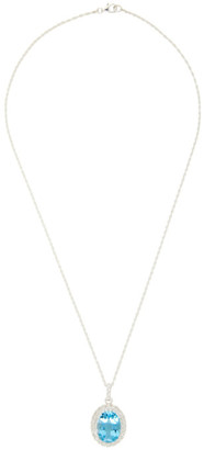 Hatton Labs Silver and Blue HL Crown Stone Pendant Necklace