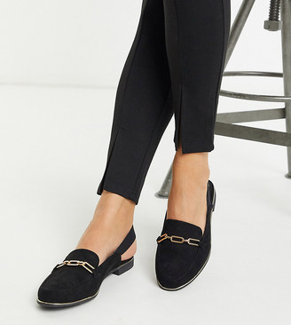Simply Be Wide Fit Simply Be mule with elastic strap in wide fit in black and gold