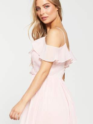 Very Cold Shoulder Woven Midi Dress - Blush
