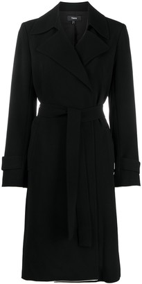 Theory Contarsting Trim Belted Coat