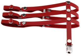 SWIDUUK Women Sexy Punk Garter Rock Style Faux Leather Harness Leg Garter with Metal Clips Adjustable Garters Suitable for Daily Party Dance Cosplay Evening Club wear