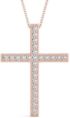 14KT 0.25 CT Petite Round Cut Milgrain Cross Pendant Necklace Amcor Design