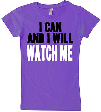 Micro Me Girls' Tee Shirts Purple - Purple 'I Can & I Will' Fitted Tee - Toddler & Girls