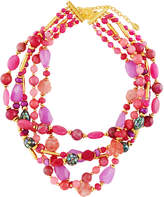 Jose & Maria Barrera Agate & Abalone Multi-Strand Beaded Torsade Necklace
