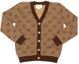 Gucci Logo Jacquard Blend Wool Knit Cardigan